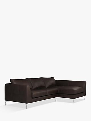 John Lewis & Partners Belgrave RHF Chaise End Leather Sofa, Metal Leg