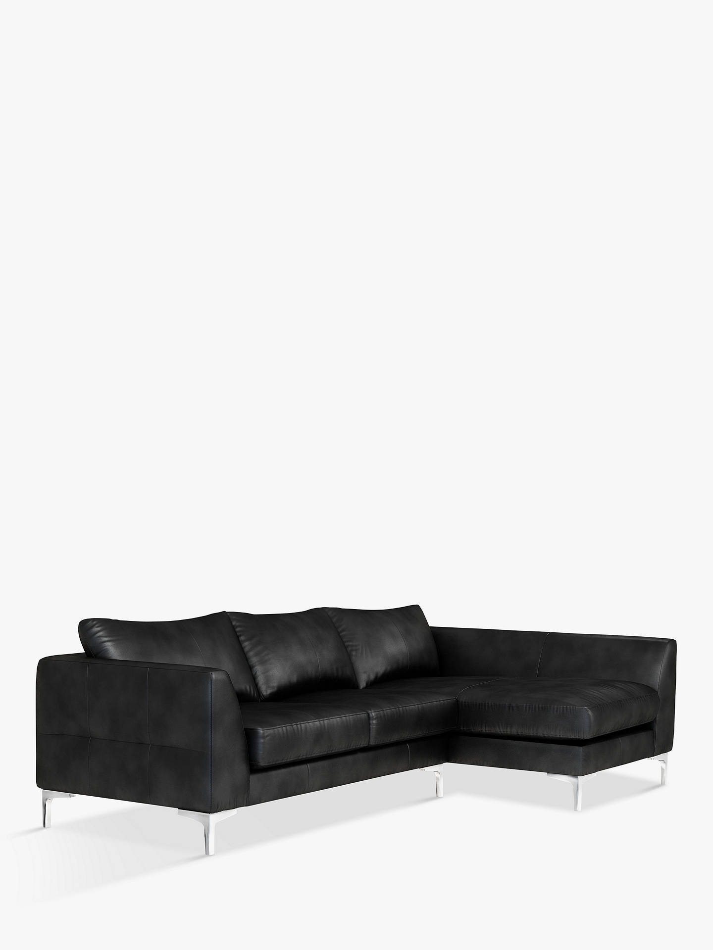 Buy John Lewis & Partners Belgrave RHF Chaise End Leather Sofa, Metal Leg, Nature Black Online at johnlewis.com
