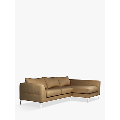 John Lewis & Partners Belgrave RHF Chaise End Leather Sofa, Metal Leg