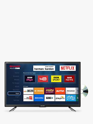 Sharp LC-24DHG6131KF LED HD Ready 720p Smart TV/DVD Combi, 24\ 24 to 32 Inch TVs | Vision John Lewis \u0026 Partners