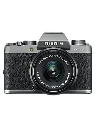 "Fujifilm X-T100 Compact System Camera with 15-45mm XC Lens, 4K Ultra HD, 24.2MP, Wi-Fi, Bluetooth, EVF, 3"" Tiltable Touch Screen"