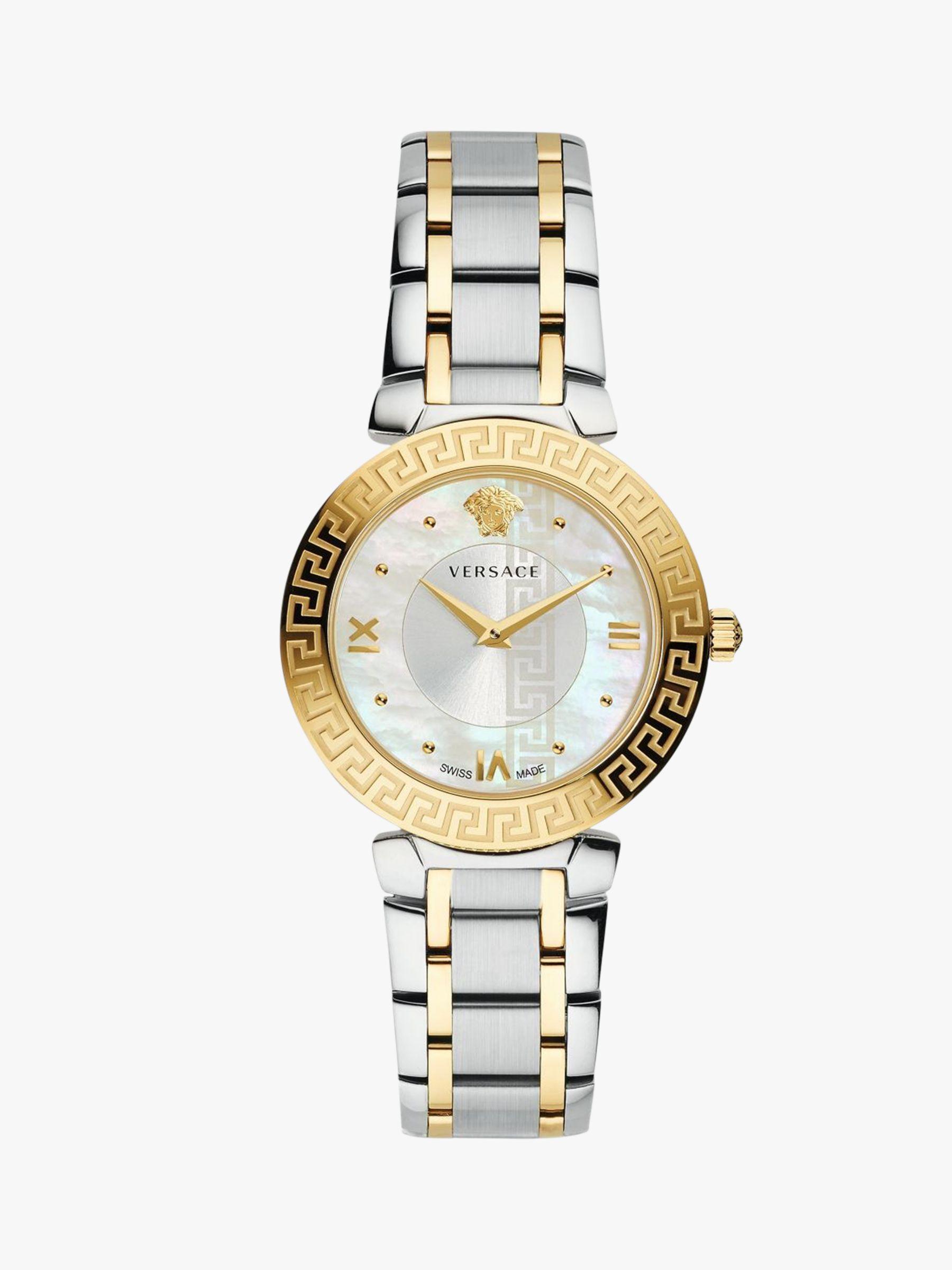 Versace Versace V16060017 Women's Daphnis Mother of Pearl Bracelet Strap Watch, Silver/Gold