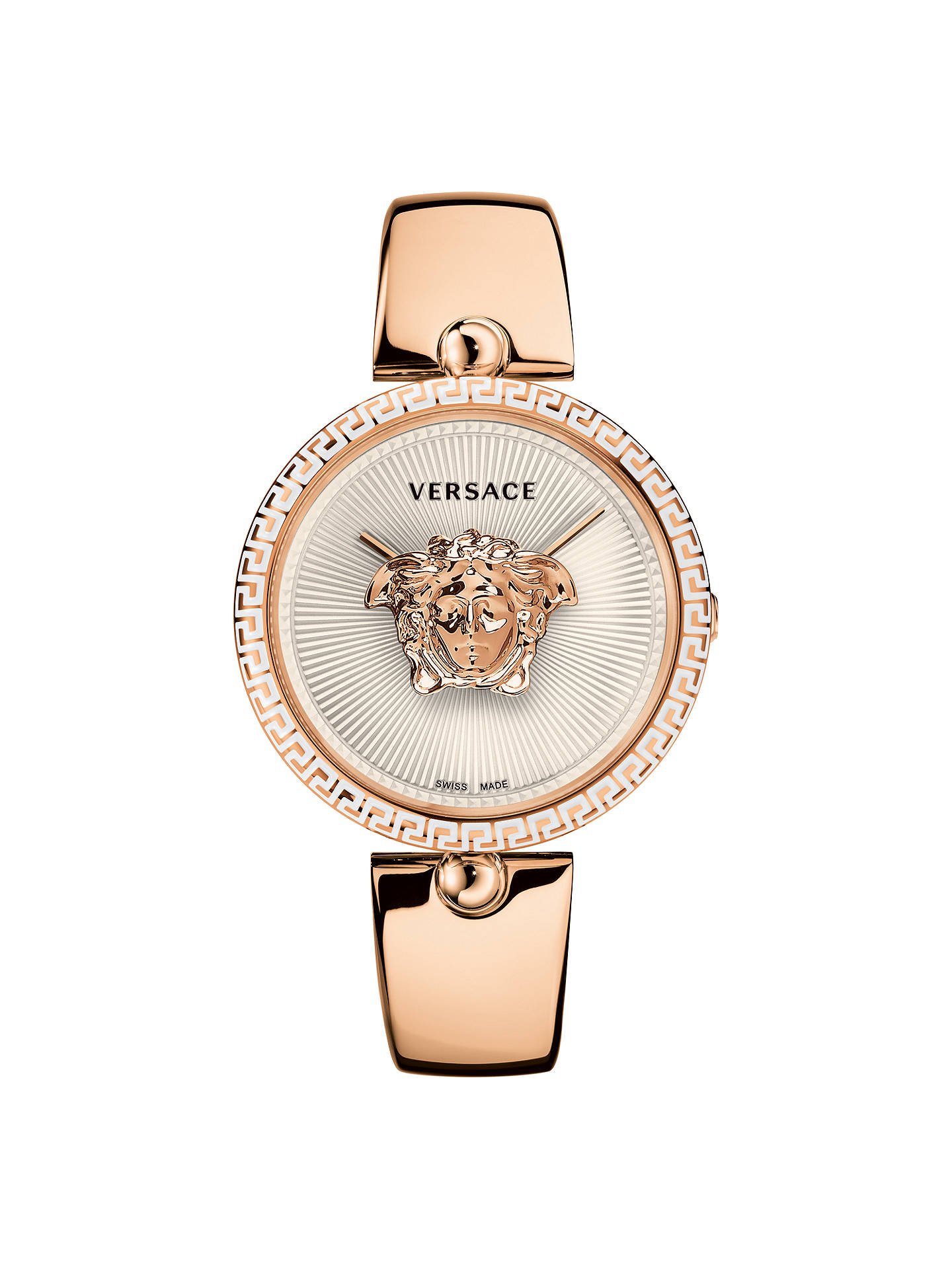 6cf4aaca1d Versace VCO110017 Women's Palazzo Bangle Strap Watch, Rose Gold/White