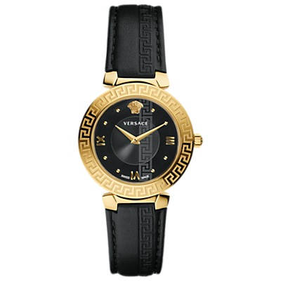 Versace V16050017 Women's Daphnis Leather Strap Watch, Black