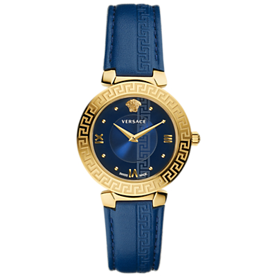 Versace V16040017 Women's Daphnis Leather Strap Watch, Blue