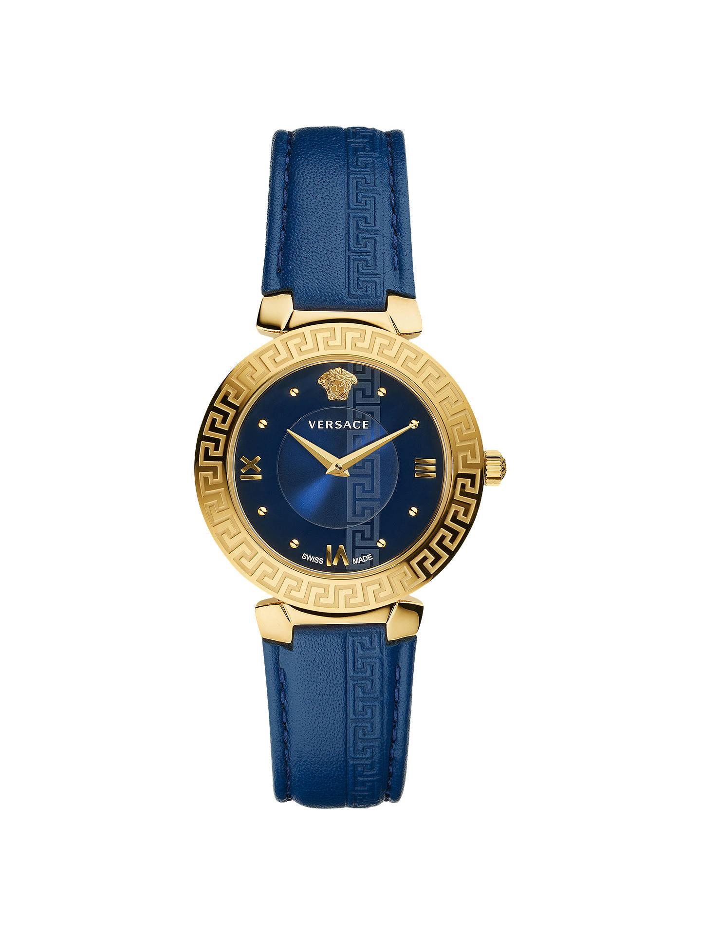 b34fb41133 Versace V16040017 Women's Daphnis Leather Strap Watch, Blue