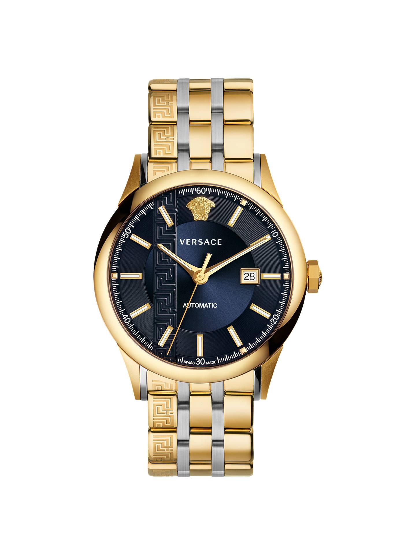 10ebd6f4 Versace V18050017 Men's Automatic Date Bracelet Strap Watch, Gold/Silver