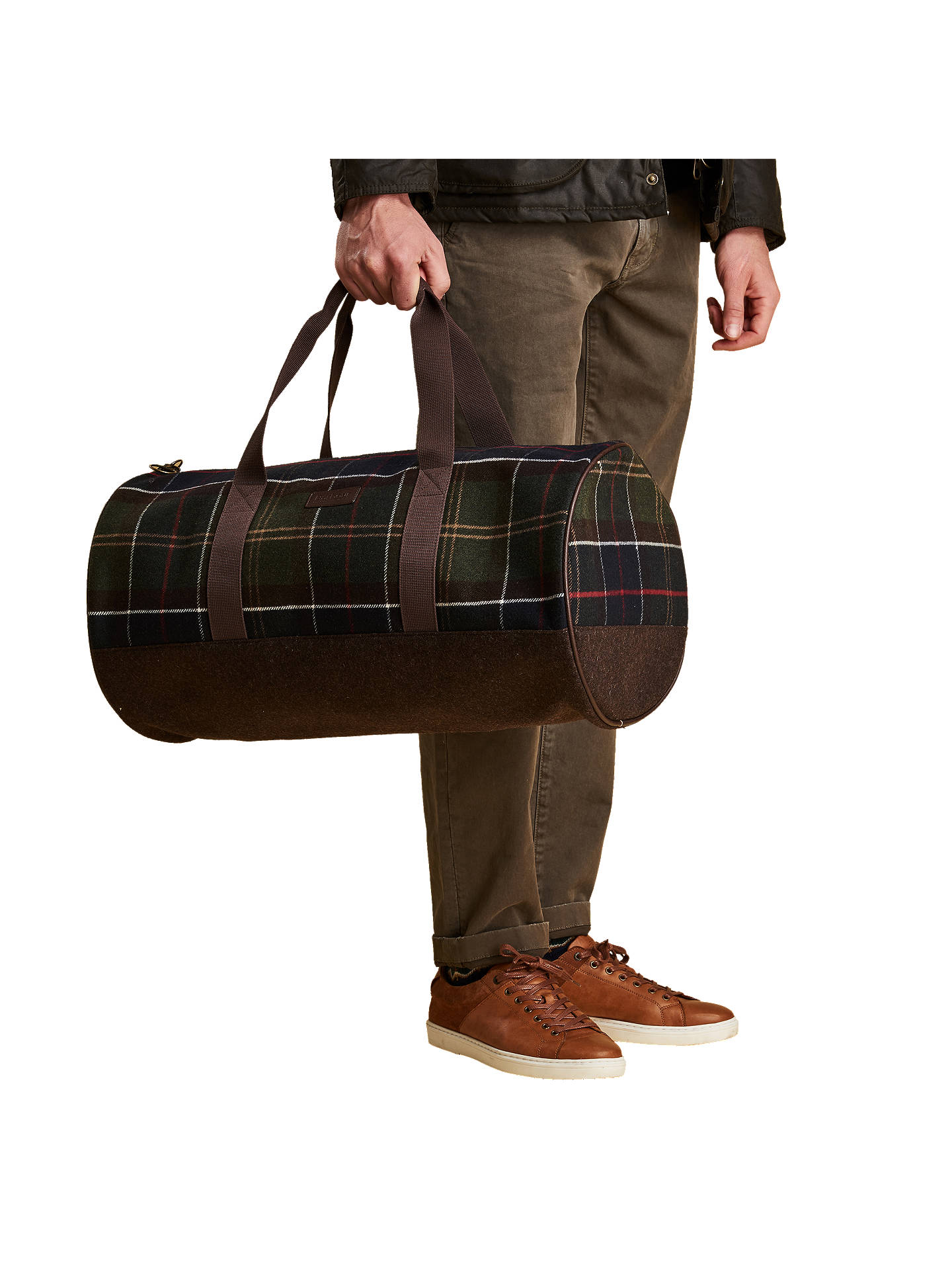 Buy Barbour Hardwick Classic Tartan Holdall, Green Online at johnlewis.com