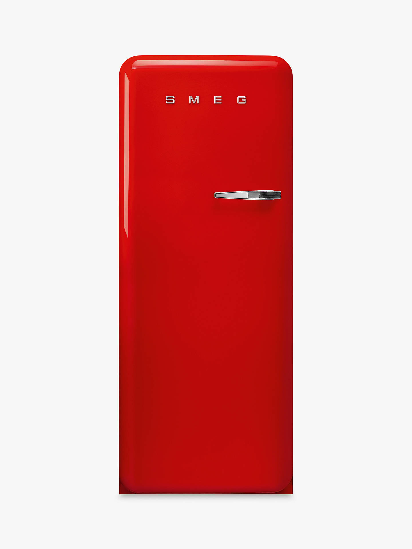 BuySmeg FAB28LRD3UK Freestanding Fridge with Freezer Compartment, A+++ Energy Rating, 60cm Wide, Left-Hand Hinge, Red Online at johnlewis.com