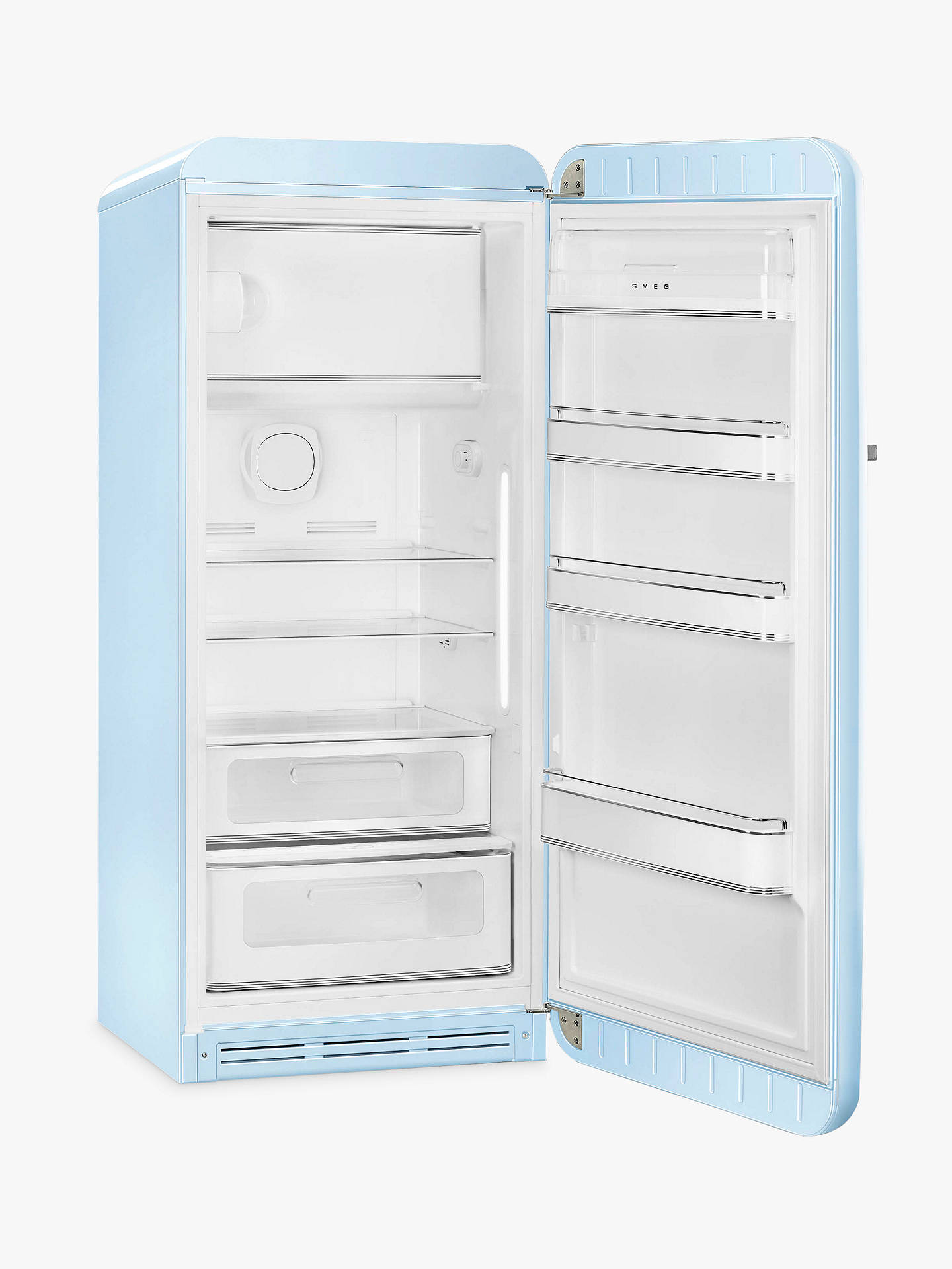 BuySmeg FAB28RPB3UK Freestanding Fridge with Freezer Compartment, A+++ Energy Rating, 60cm Wide, Right-Hand Hinge, Pastel Blue Online at johnlewis.com