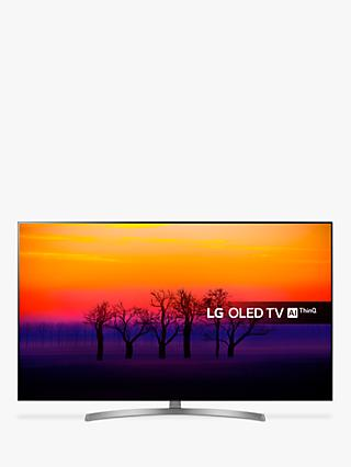 "LG OLED55B8SLC OLED HDR 4K Ultra HD Smart TV, 55"" with Freeview Play/Freesat HD, Dolby Atmos, Picture-On-Metal Design & Crescent Stand, Ultra HD Certified, Black & Silver"