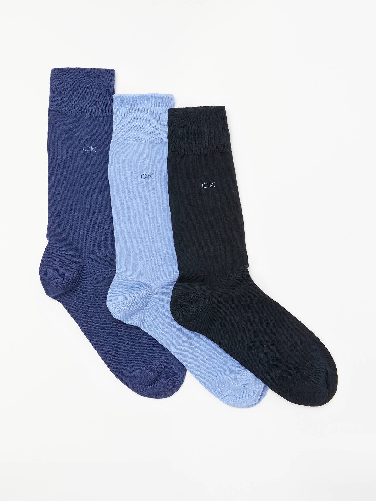 Buy Calvin Klein Fine Cotton Socks, Pack of 3, One Size, Blues Online at johnlewis.com