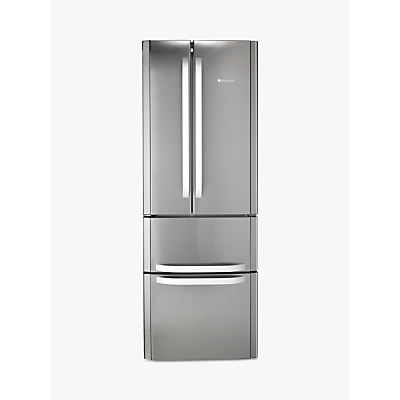 Hotpoint FFU4D.1 X American Style Freestanding Fridge Freezer, A+ Energy Rating, 70cm Wide, Stainless Steel