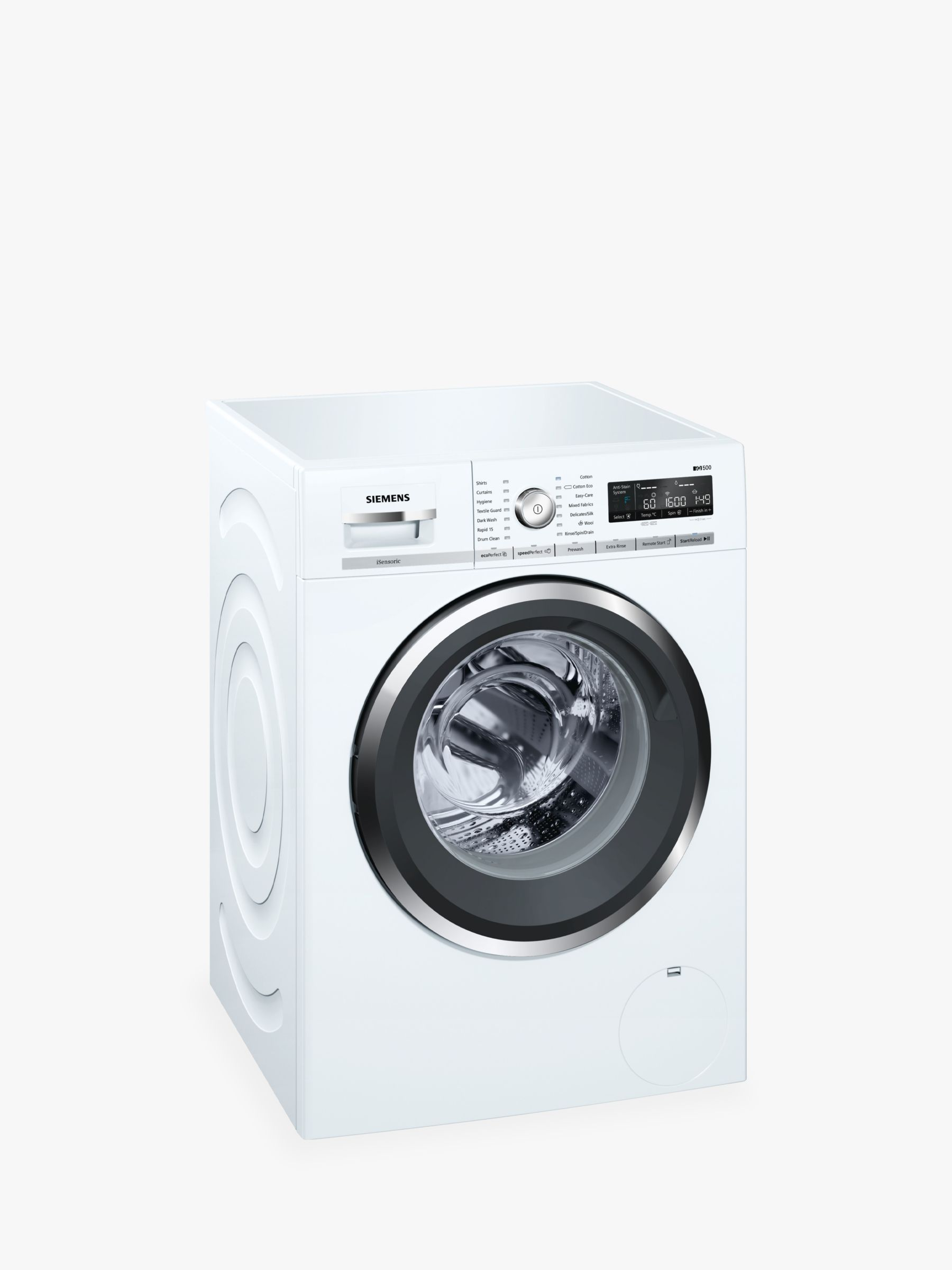 Siemens Siemens WM16W5H0GB Freestanding Washing Machine with Home Connect, 9kg Load, A+++ Energy Rating, 1600rpm Spin, White