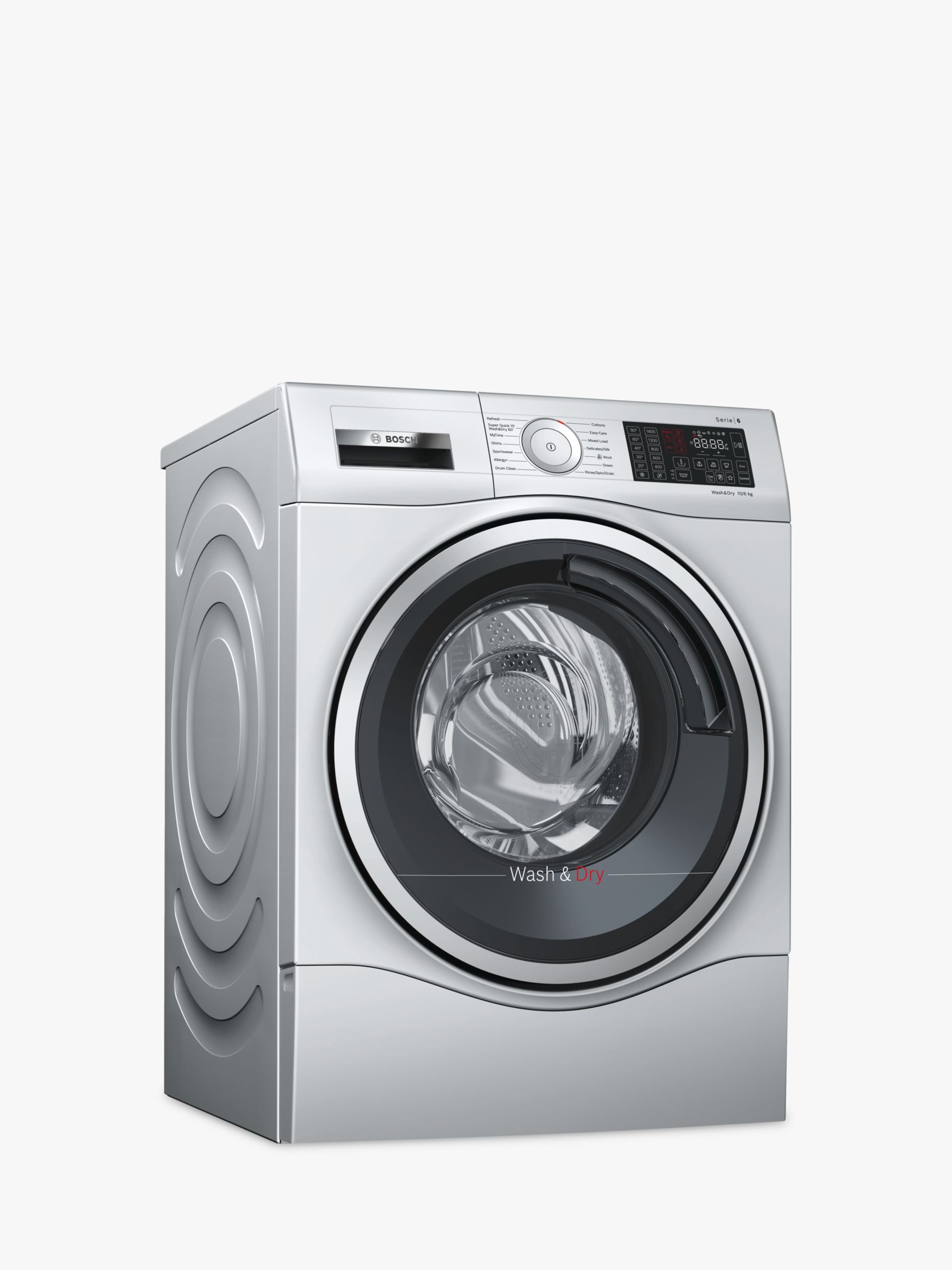 Bosch Bosch WDU28568GB Freestanding Washer Dryer, 10kg Wash/6kg Dry Load, A Energy Rating, 1400rpm Spin, Stainless Steel