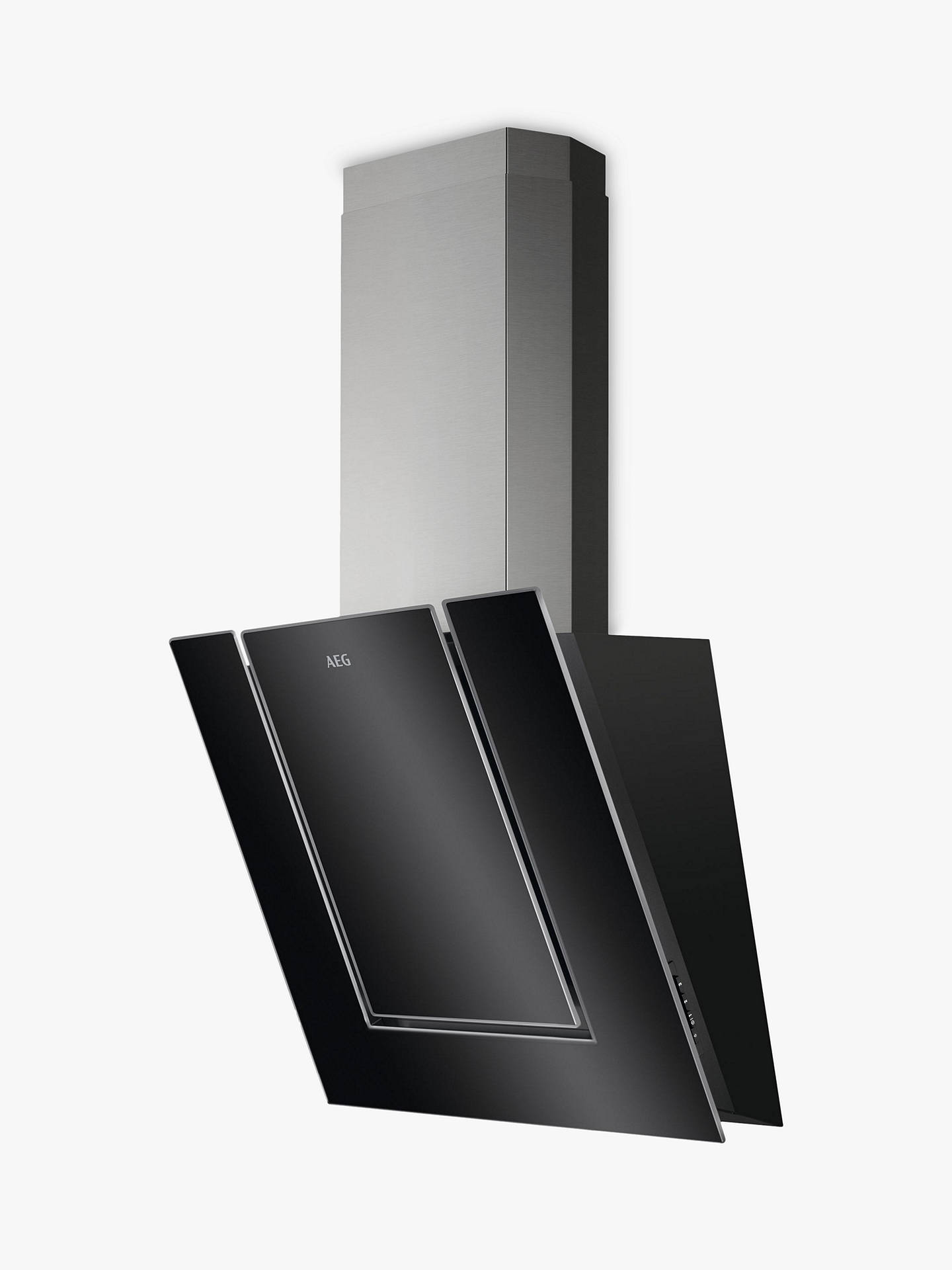 BuyAEG DVB4550B Angled Chimney Cooker Hood, Black Glass Online at johnlewis.com
