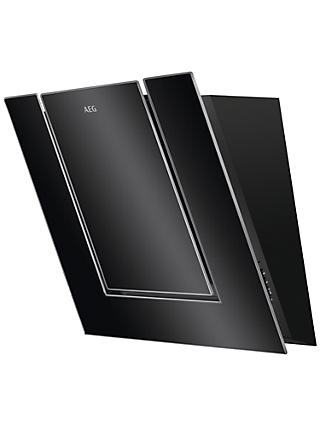 AEG DVB4550B Angled Chimney Cooker Hood, Black Glass