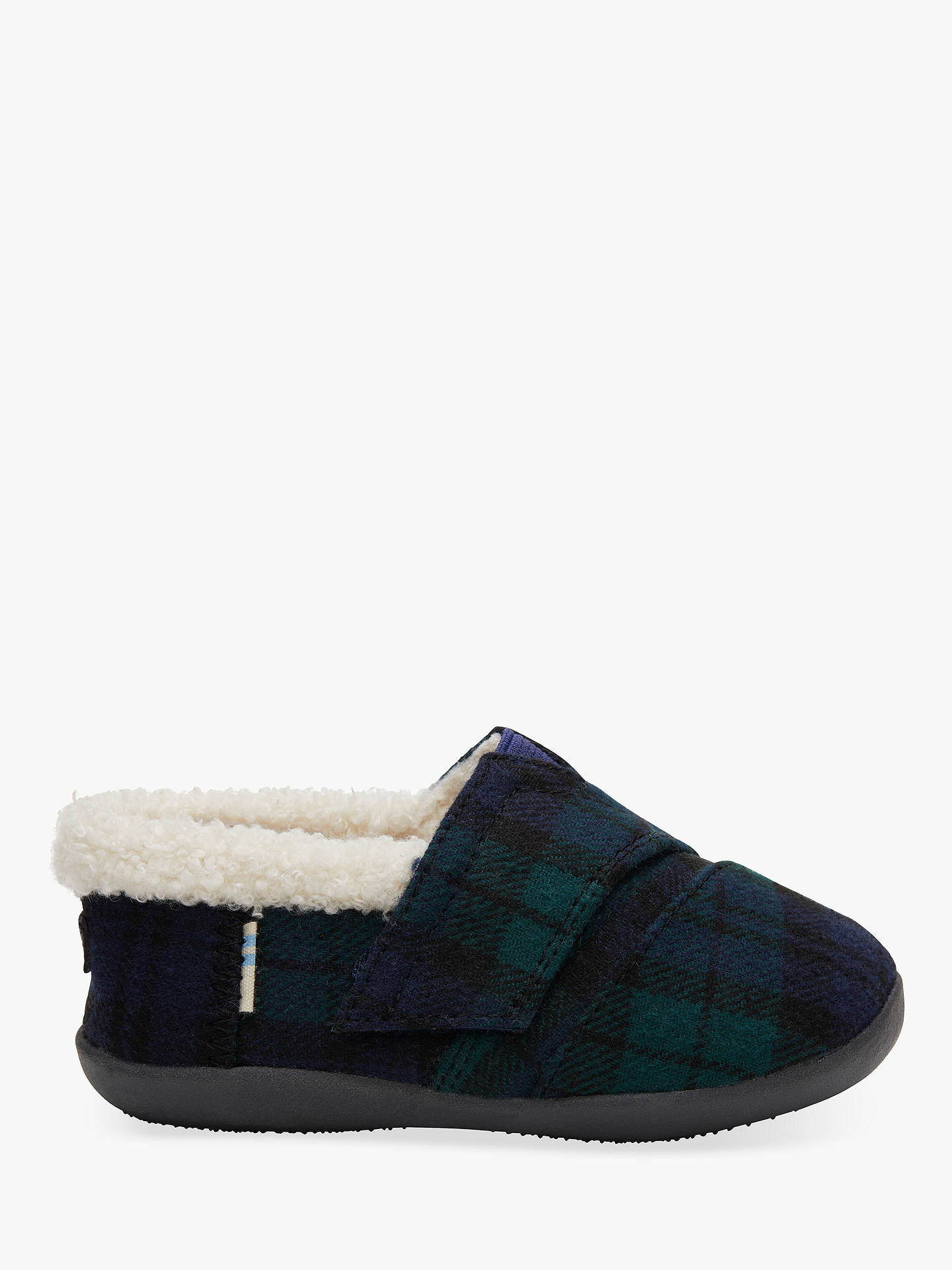 7908df8b3fd5a TOMS Children's Spruce Plaid Check Slippers, Navy at John Lewis ...