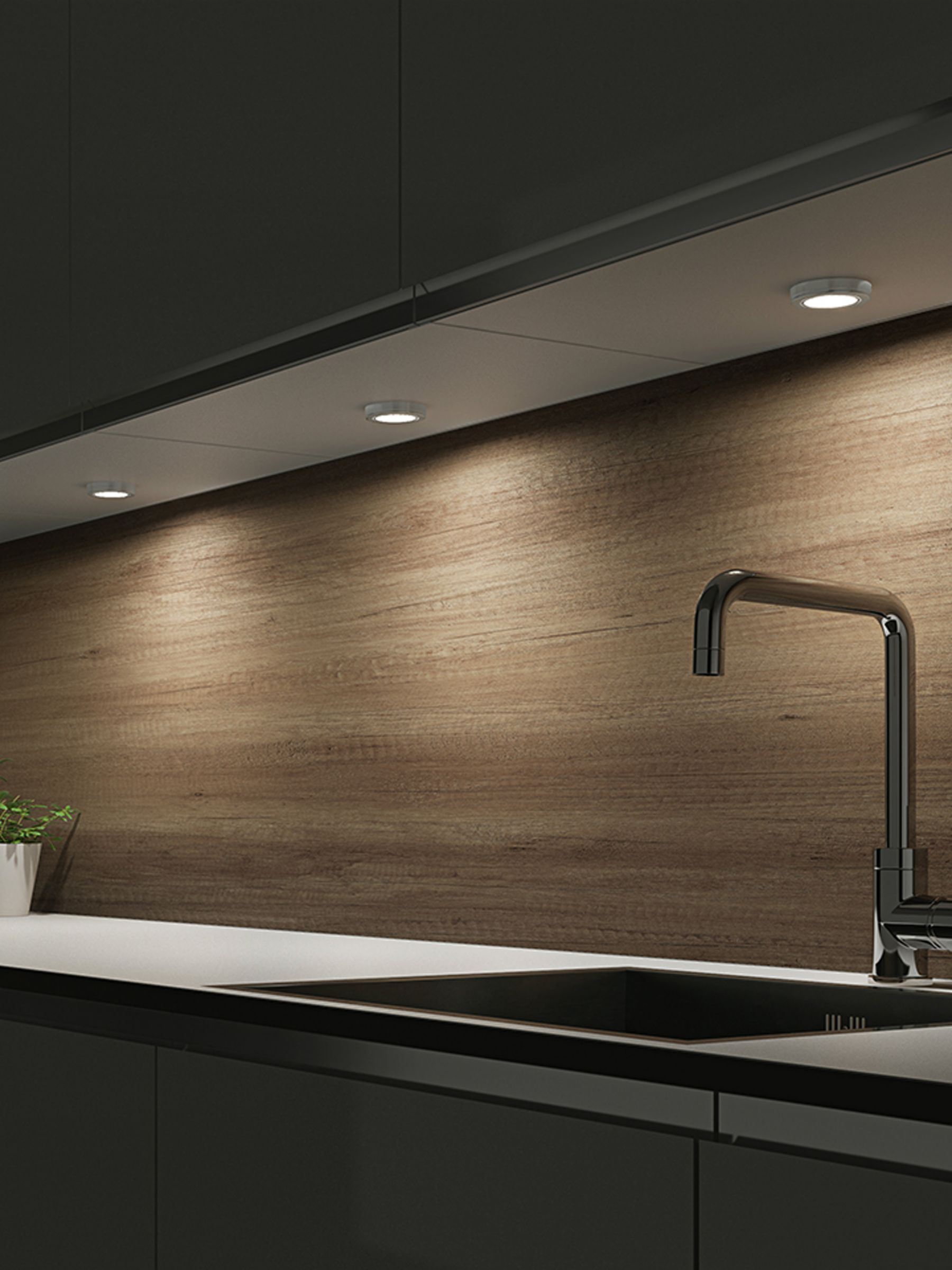 Sensio Hype Triotone Led Kitchen Lights Pack Of 2 Brushed Steel At John Lewis Partners