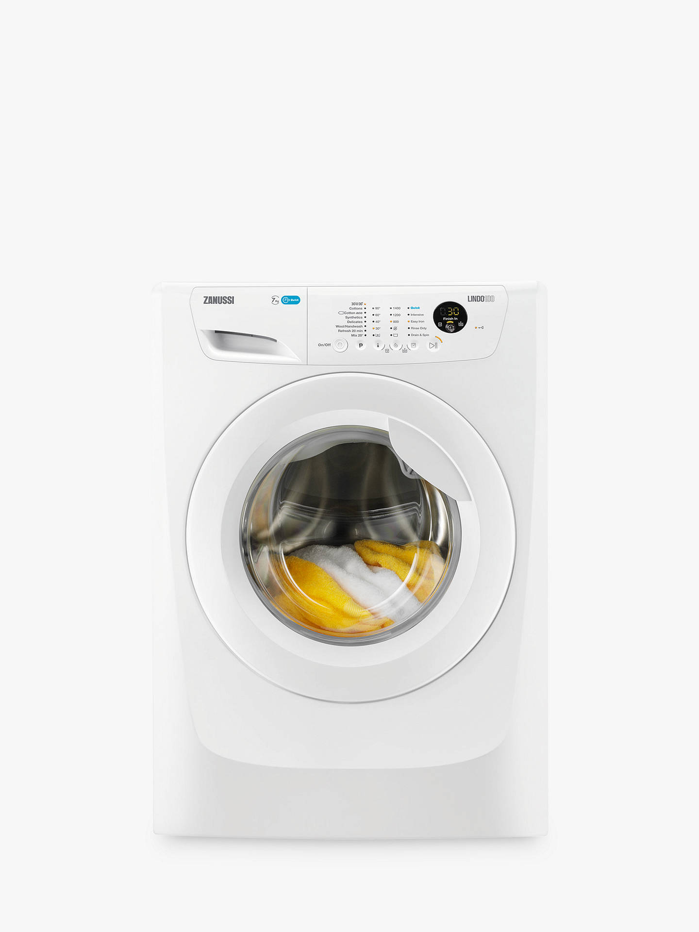 Buy Zanussi ZWF71463W Washing Machine, 7kg Load, A+++ Energy Rating, 1400rpm Spin, White Online at johnlewis.com