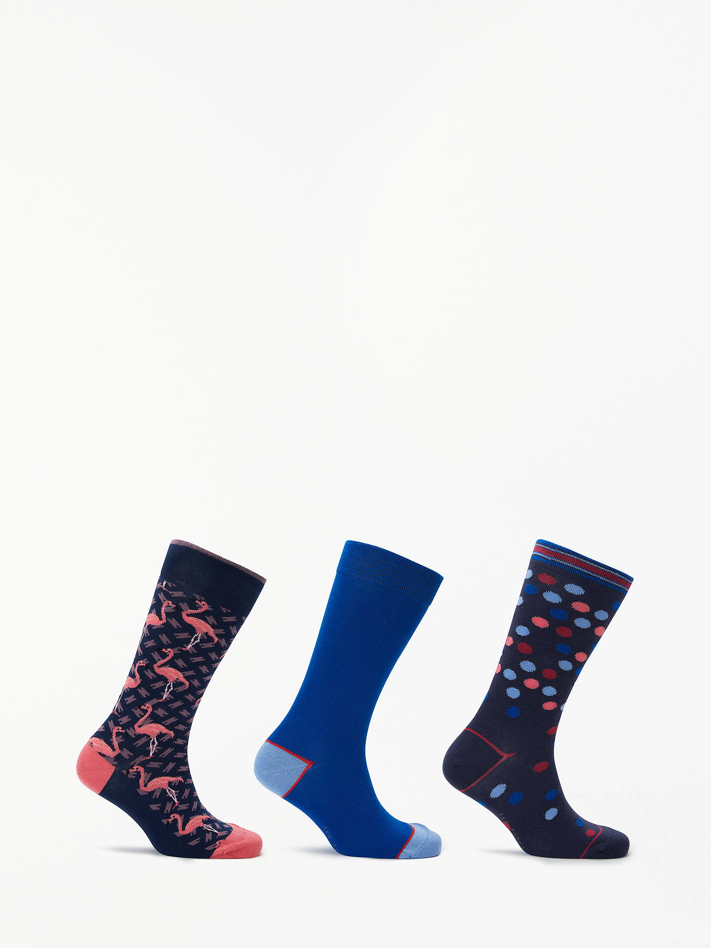 Buy Ted Baker Tinse Flamingo Socks, Pack of 3, One Size, Blue/Pink Online at johnlewis.com