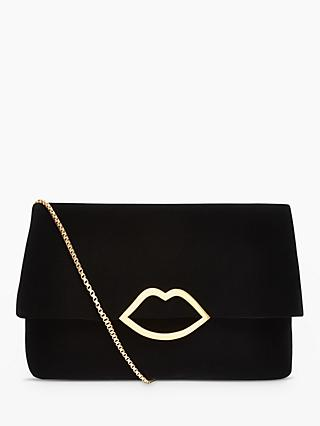 Lulu Guinness Half Covered Lip Issy Velvet Cross Body Bag Black