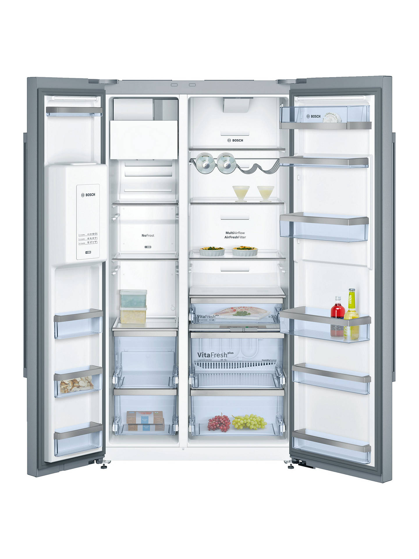 BuyBosch KAD92AI20G American Style Freestanding Fridge Freezer, A+ Energy Rating, 91cm, Silver Online at johnlewis.com