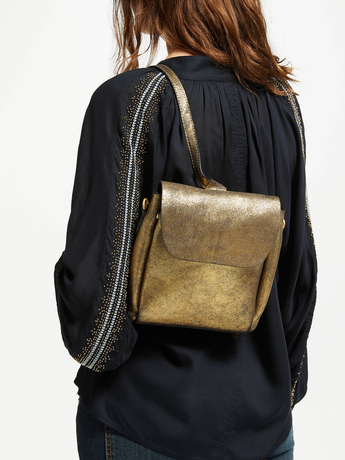BuyAND/OR Isabella Metallic Mini Leather Backpack, Gold Online at johnlewis.com