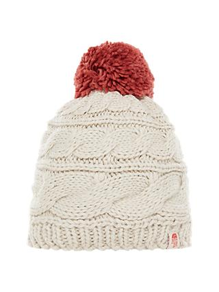 The North Face Triple Cable Beanie Hat, Beige/Red Pom Pom