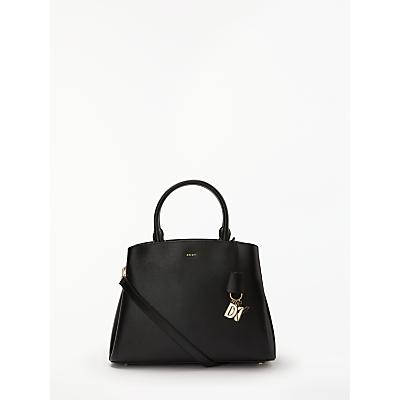 DKNY Paige Large Leather Satchel Bag, Black