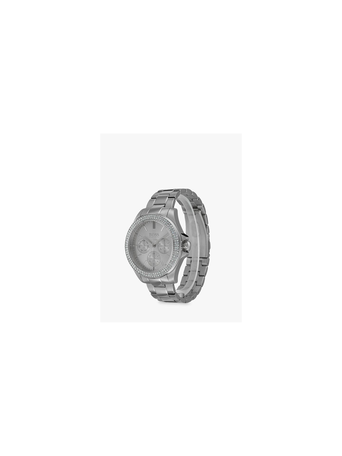 b5f3d11beff ... Buy HUGO BOSS 1502442 Women's Premiere Chronograph Crystal Bracelet  Strap Watch, Silver Online at johnlewis ...