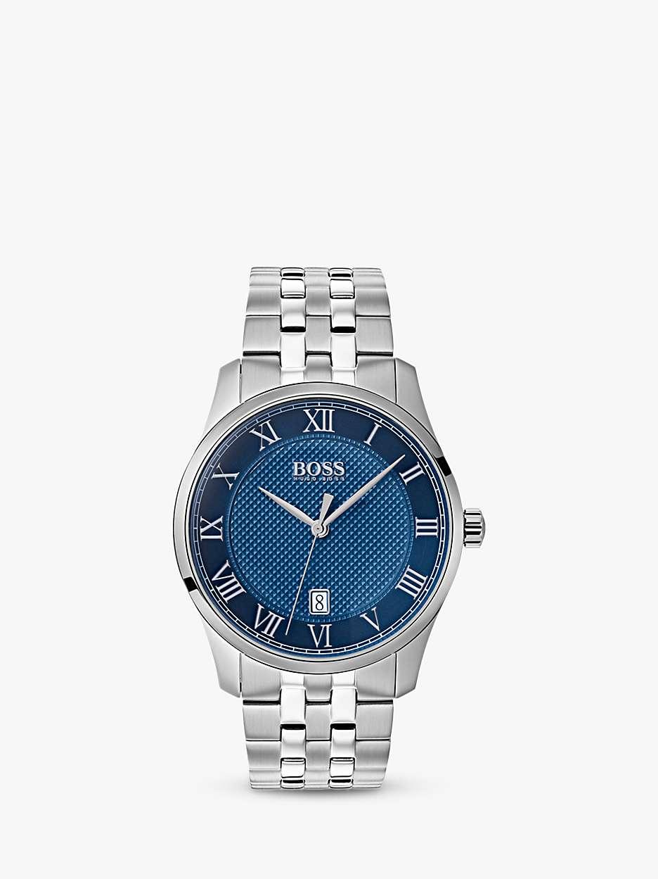 Hugo Boss Men's Master Date Bracelet Strap Watch, Silver/Blue 1513602 by John Lewis