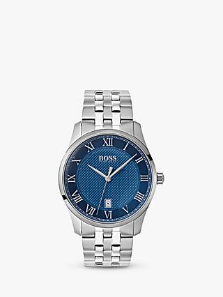 HUGO BOSS 1513602 Men's Master Bracelet Strap Watch, Silver/Blue