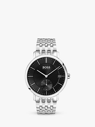 HUGO BOSS 1513641 Men's Corporal Date Bracelet Strap Watch, Silver/Black