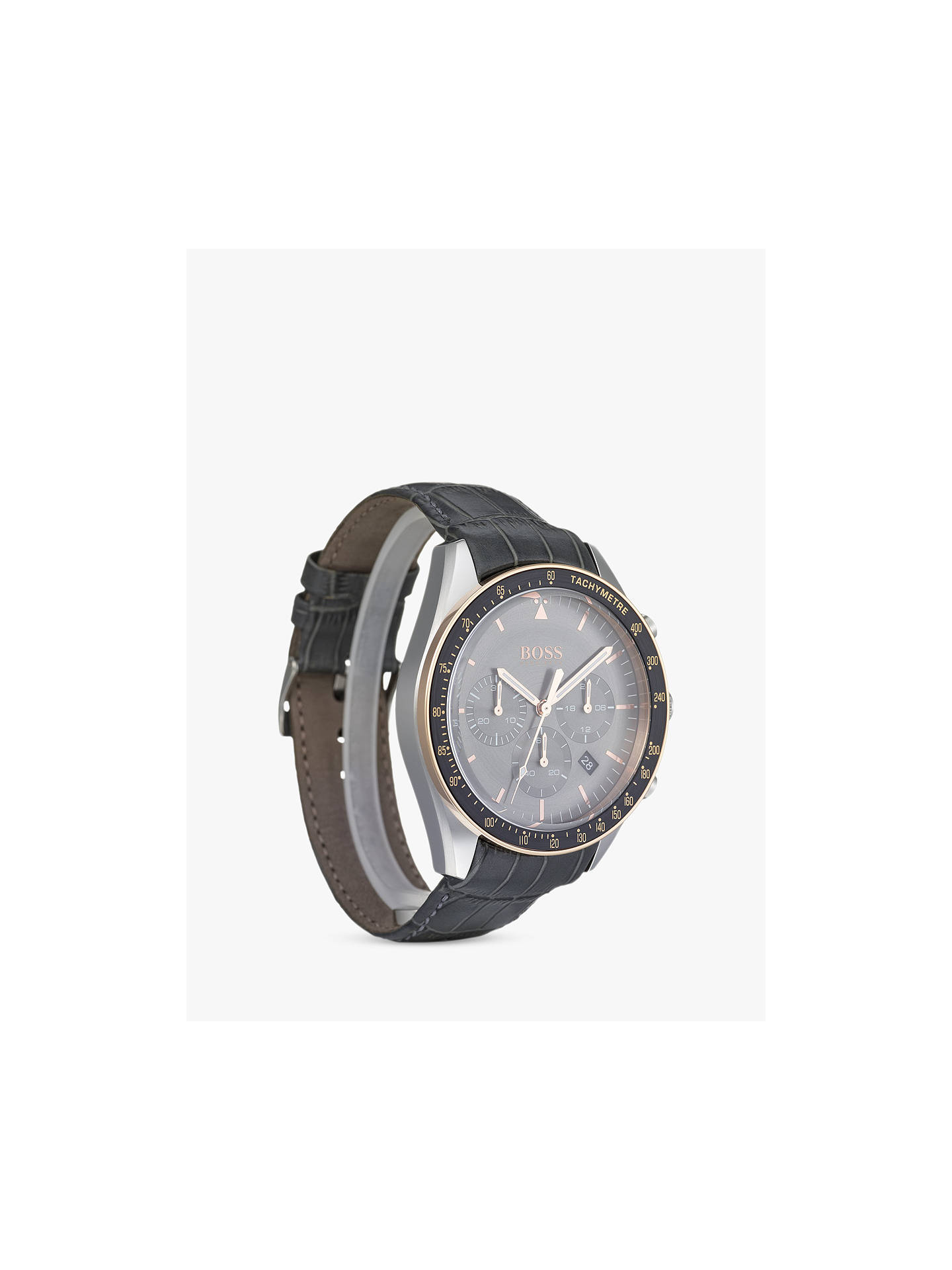 63a2590bb8d Buy HUGO BOSS 1513628 Men's Trophy Chronograph Leather Strap Watch, Grey  Online at johnlewis.