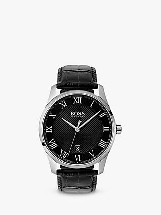 HUGO BOSS 1513585 Men's Master Leather Strap Watch, Black/Silver