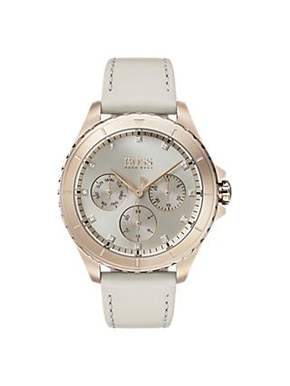 HUGO BOSS 1502447 Women's Premiere Chronograph Crystal Leather Strap Watch, Grey/Silver