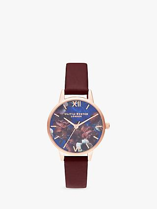 Olivia Burton OB16SP10 Women's Semi Precious Leather Strap Round Watch, Burgundy/Multi