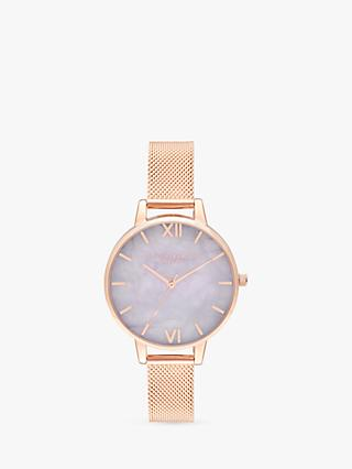 Olivia Burton OB16SP16 Women's Semi Precious Marble Mesh Bracelet Strap Watch, Rose Gold/Multi