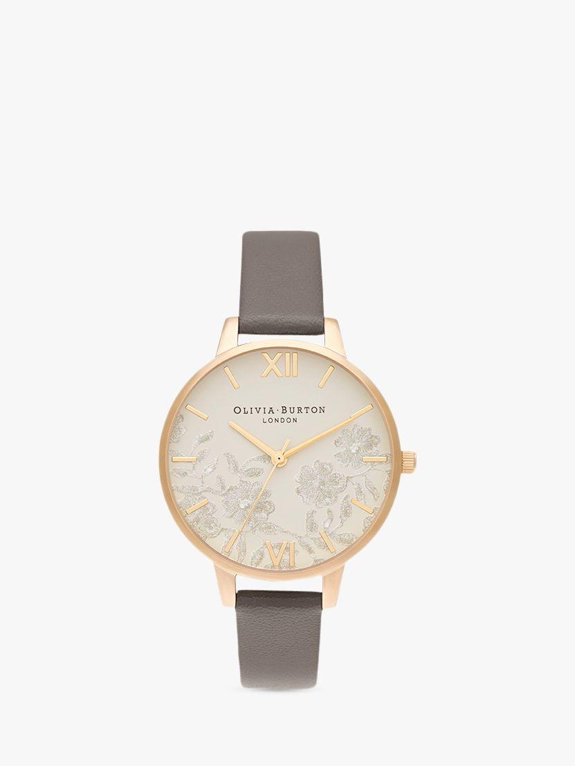 Olivia Burton Olivia Burton OB16MV98 Women's Lace Detail Leather Strap Watch, Gold/Grey