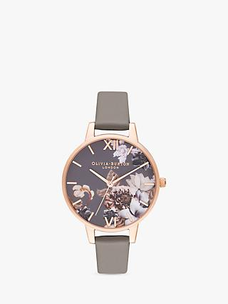 Olivia Burton Women's Marble Florals Leather Strap Watch