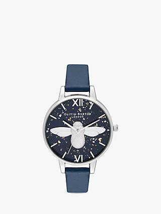 Olivia Burton OB16GD04 Women's Celestial Bee Leather Strap Watch, Navy