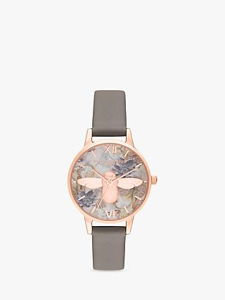 Olivia Burton OB16CS19 Women's Marble Florals Leather Strap Watch, Grey/Multi