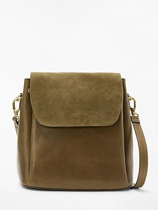 And Or Isabella Leather Backpack Shoulder Bag Olive