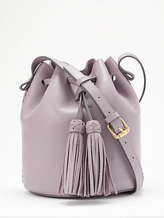 AND OR Isabella Leather Whipstitch Drawstring Bucket Bag 03939efd9db95