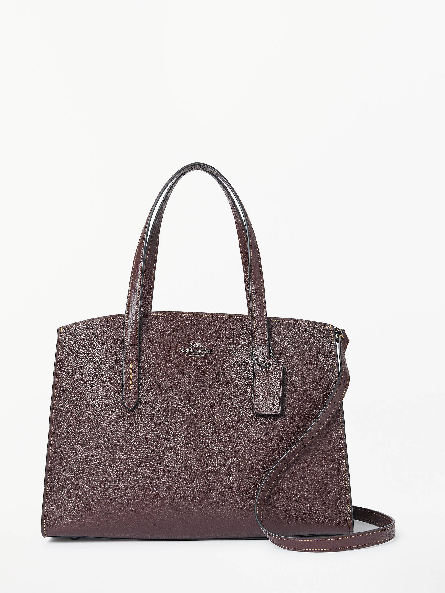 Coach Charlie Leather Carryall Tote Bag Oxblood Online At Johnlewis