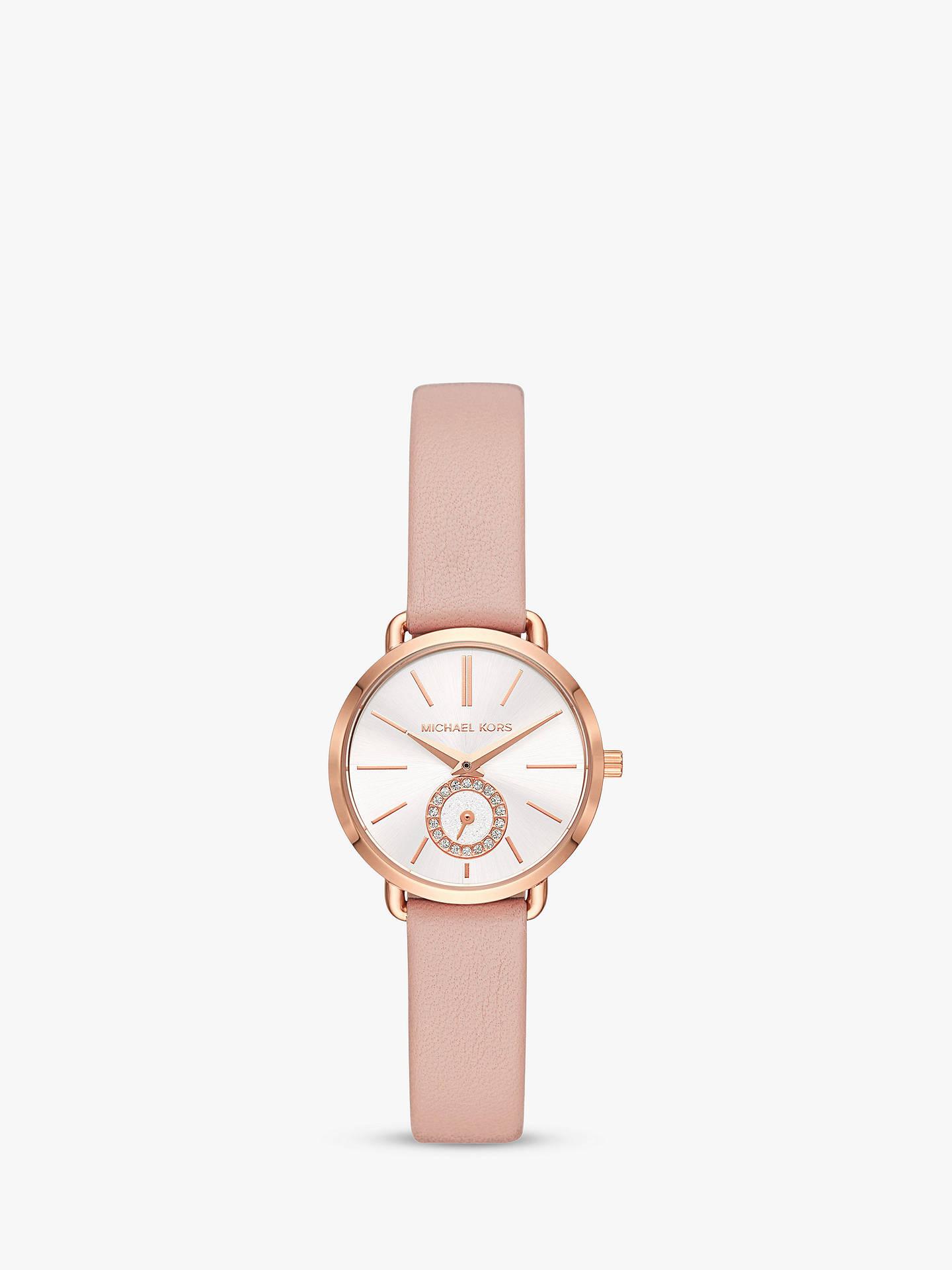 8f68e67664979 Buy Michael Kors Women's Portia Leather Strap Watch, Blush/White MK2735  Online at johnlewis ...