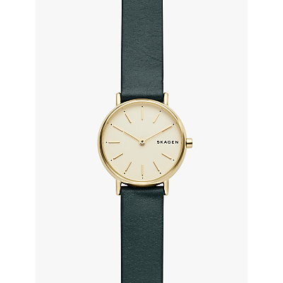 Skagen SKW2727 Women's Signatur Slim Leather Strap Watch, Green/Gold