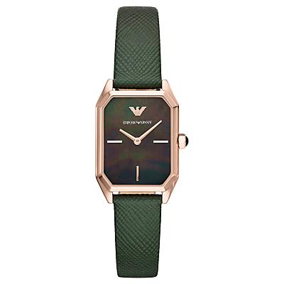 Emporio Armani AR11149 Women's Rectangular Leather Strap Watch, Green