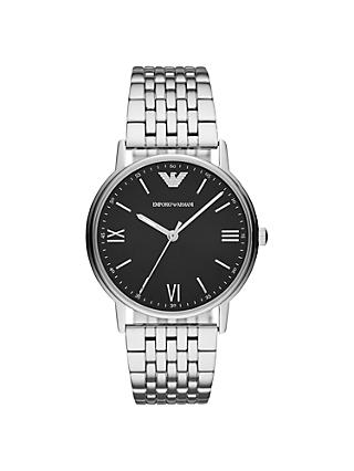 Emporio Armani AR11152 Men's Bracelet Strap Watch, Silver/Black
